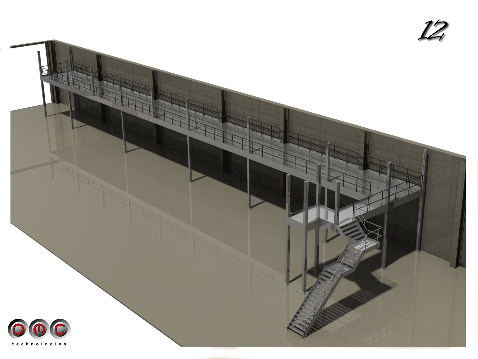 Rendered drawing of complete 50m platform